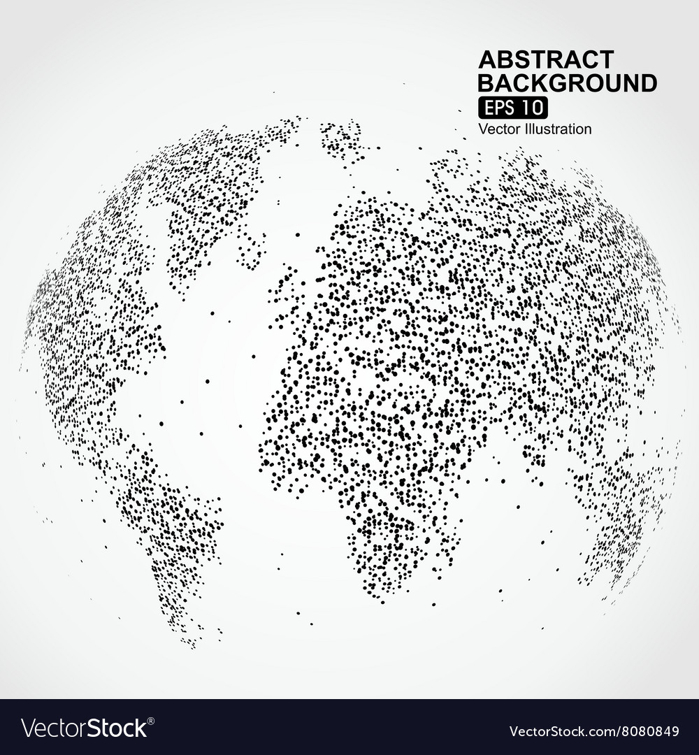Dots three-dimensional map of the world abstract