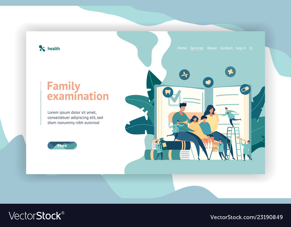 Family doctor pediatrician concept web page design