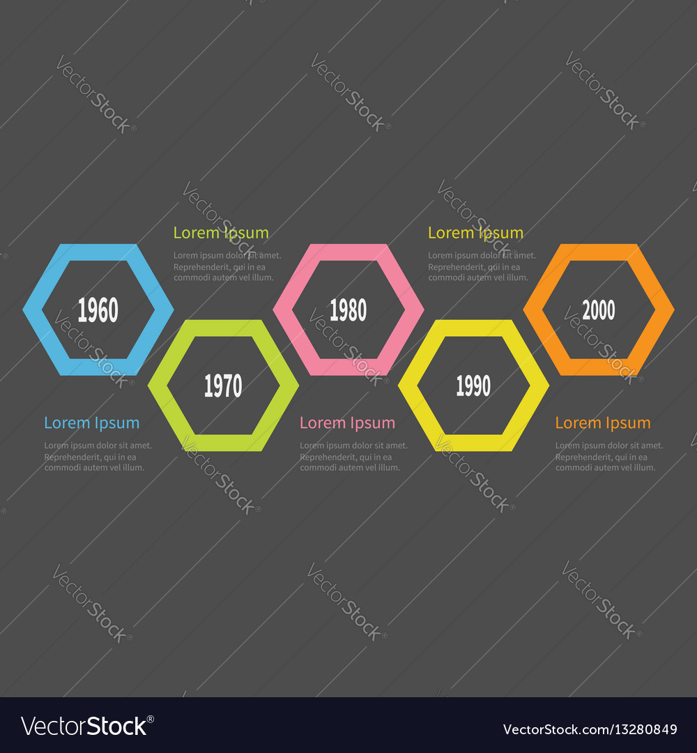 Five step timeline infographic colorful big