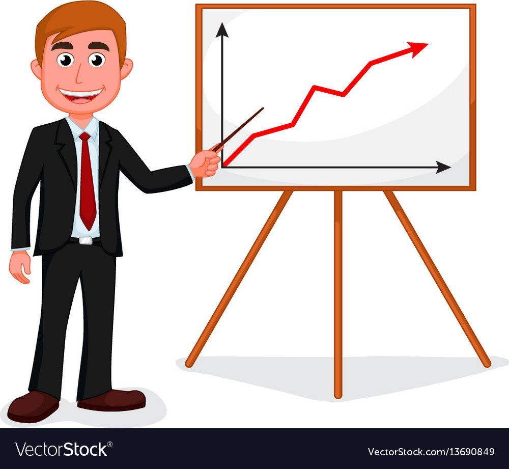 Happy businessman standing for good presentation