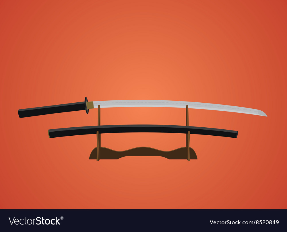 Katana sword samurai japanese with red background