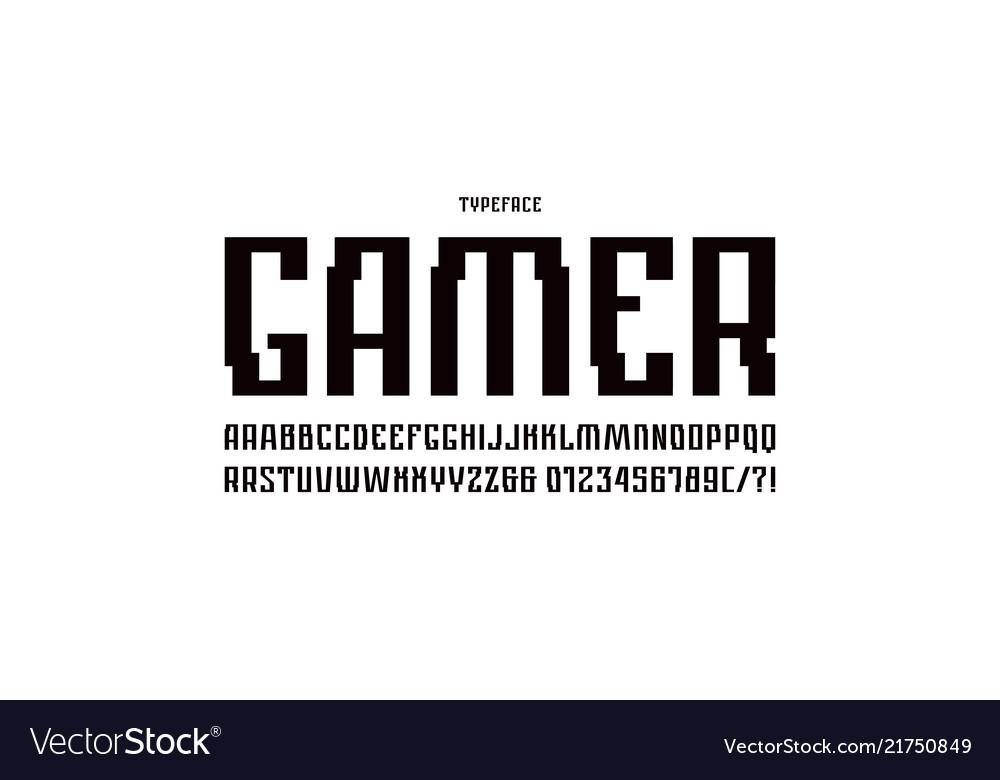Narrow sans serif font in cyber style