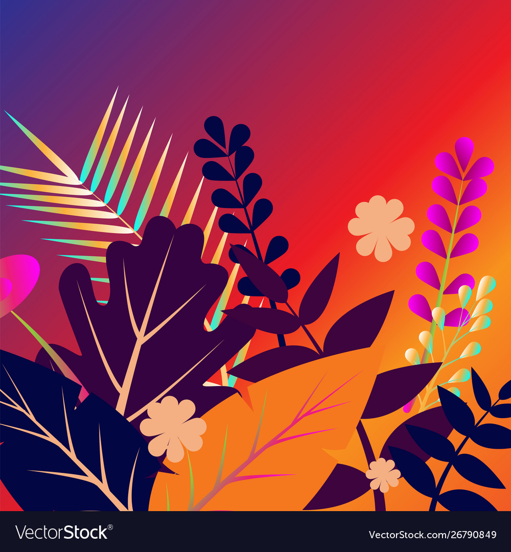 Painted tropical exotic leaves abstract colors in