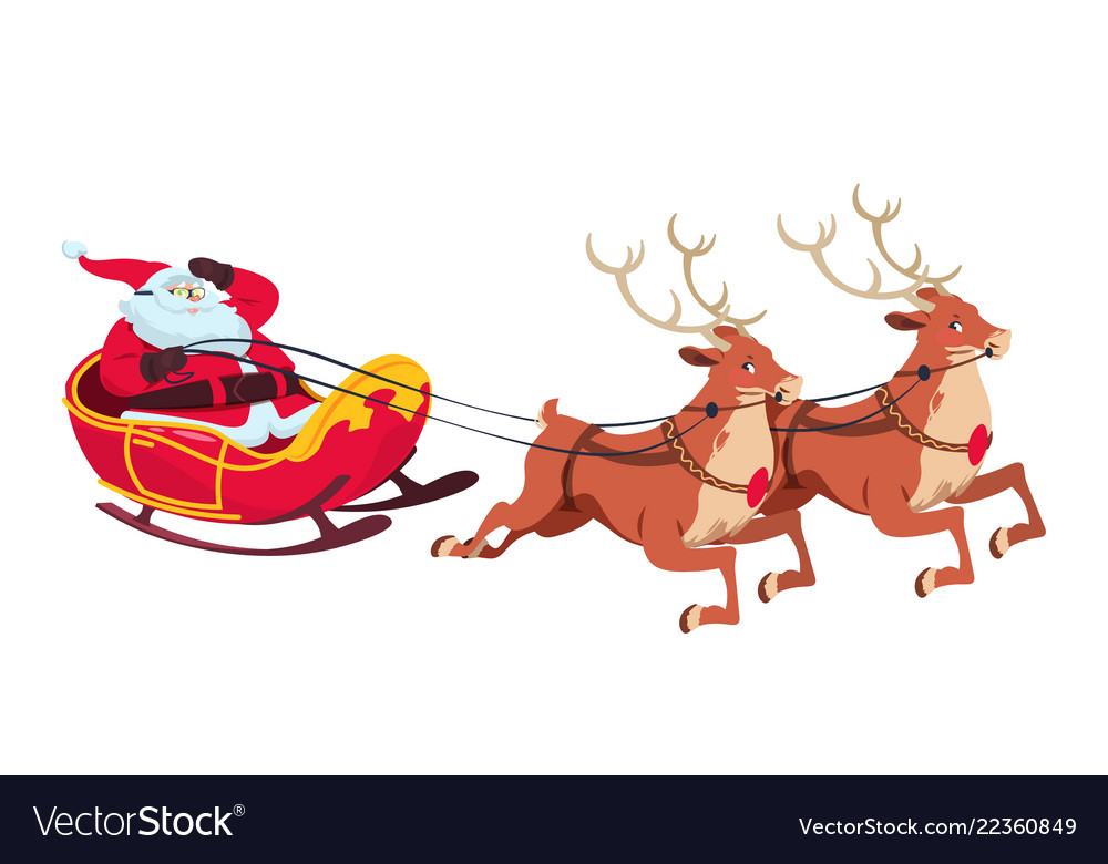 Santa on sleigh with reindeers christmas cartoon