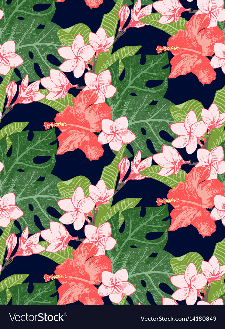Seamless pattern with exotic flowers and leaves