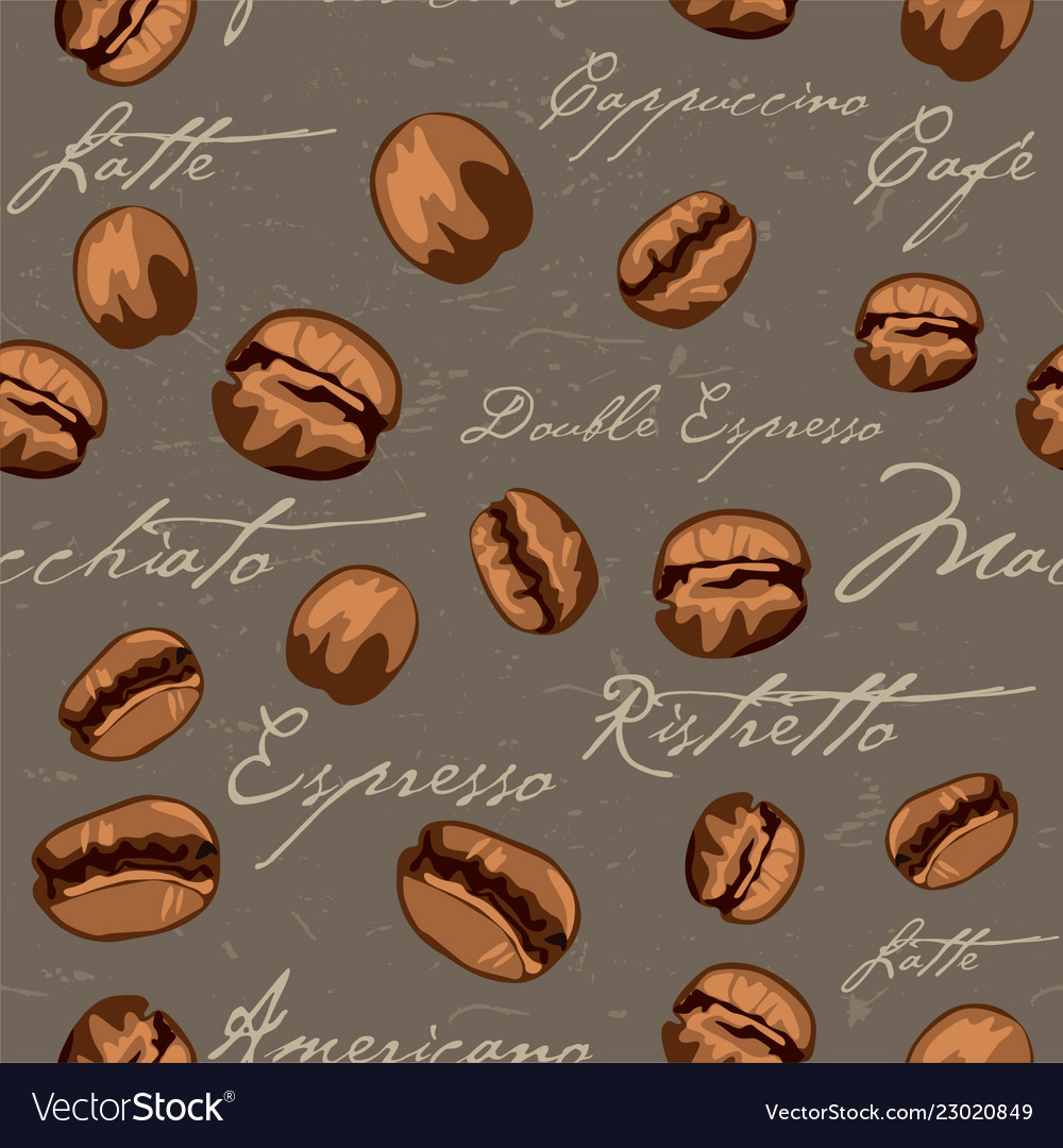 Seamless repeating coffee bean pattern