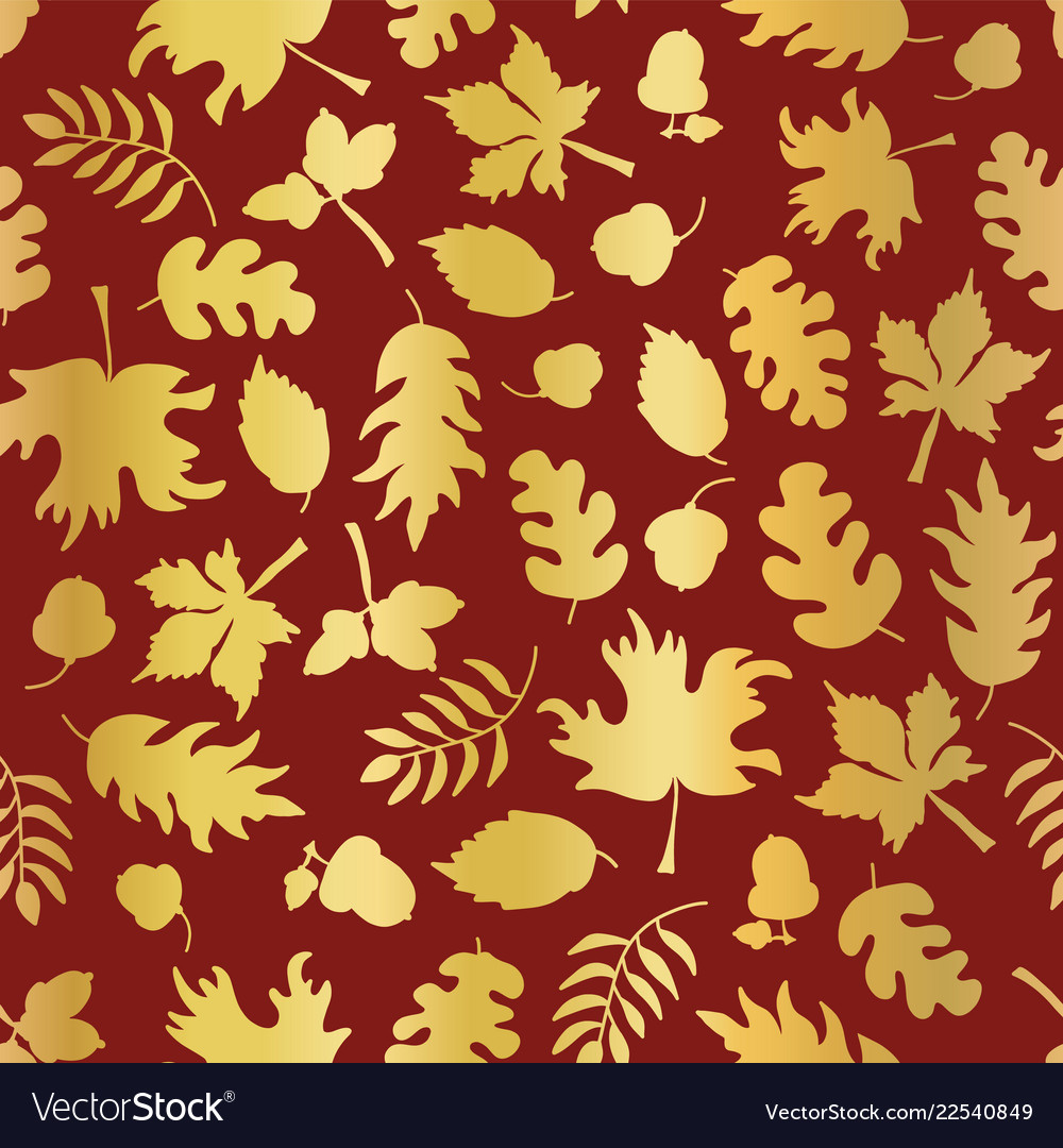 Thanksgiving gold foil autumn leaf pattern tile