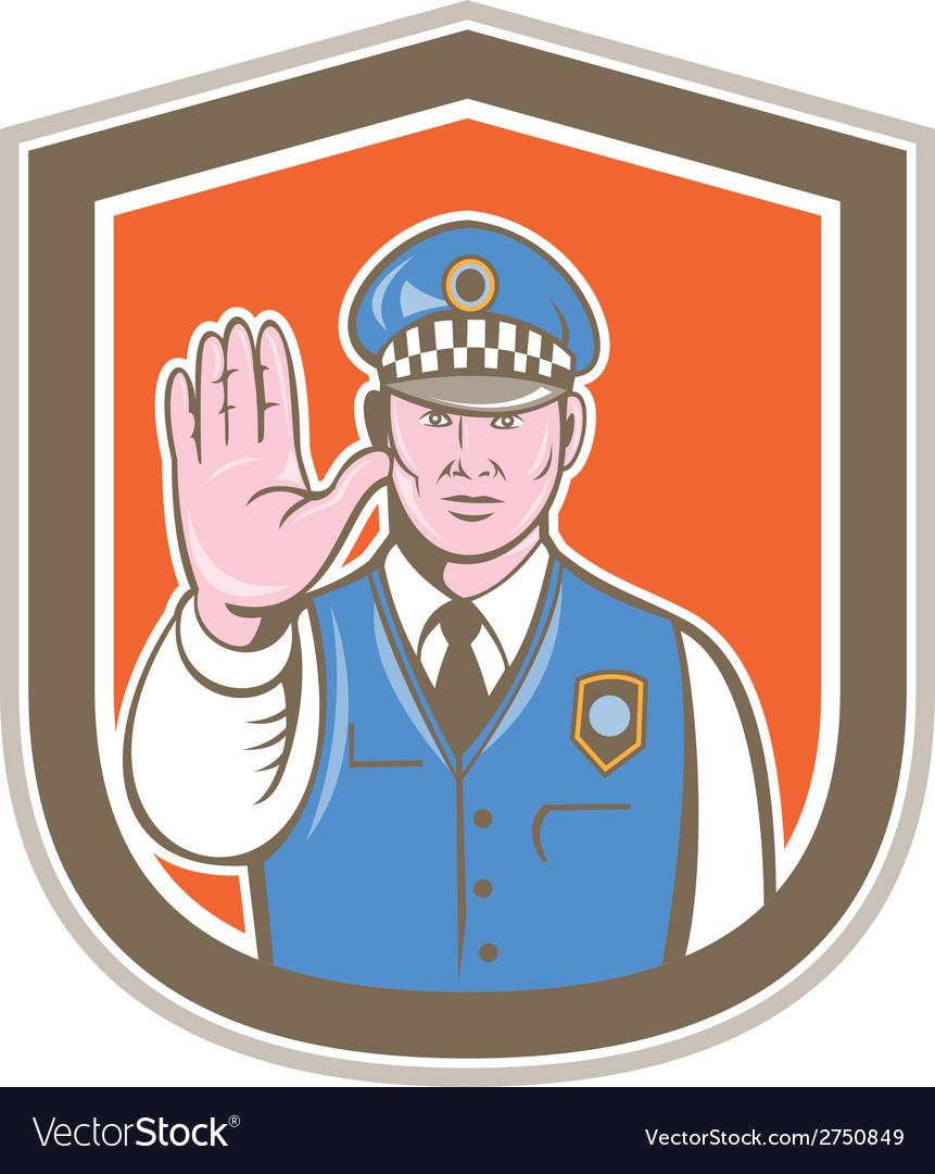 Traffic Policeman Hand Stop Sign Shield Cartoon