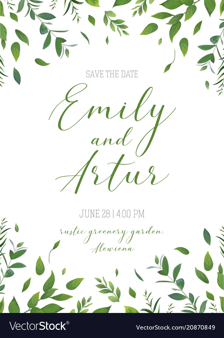 Wedding Floral Greenery Invitation Card Art Design