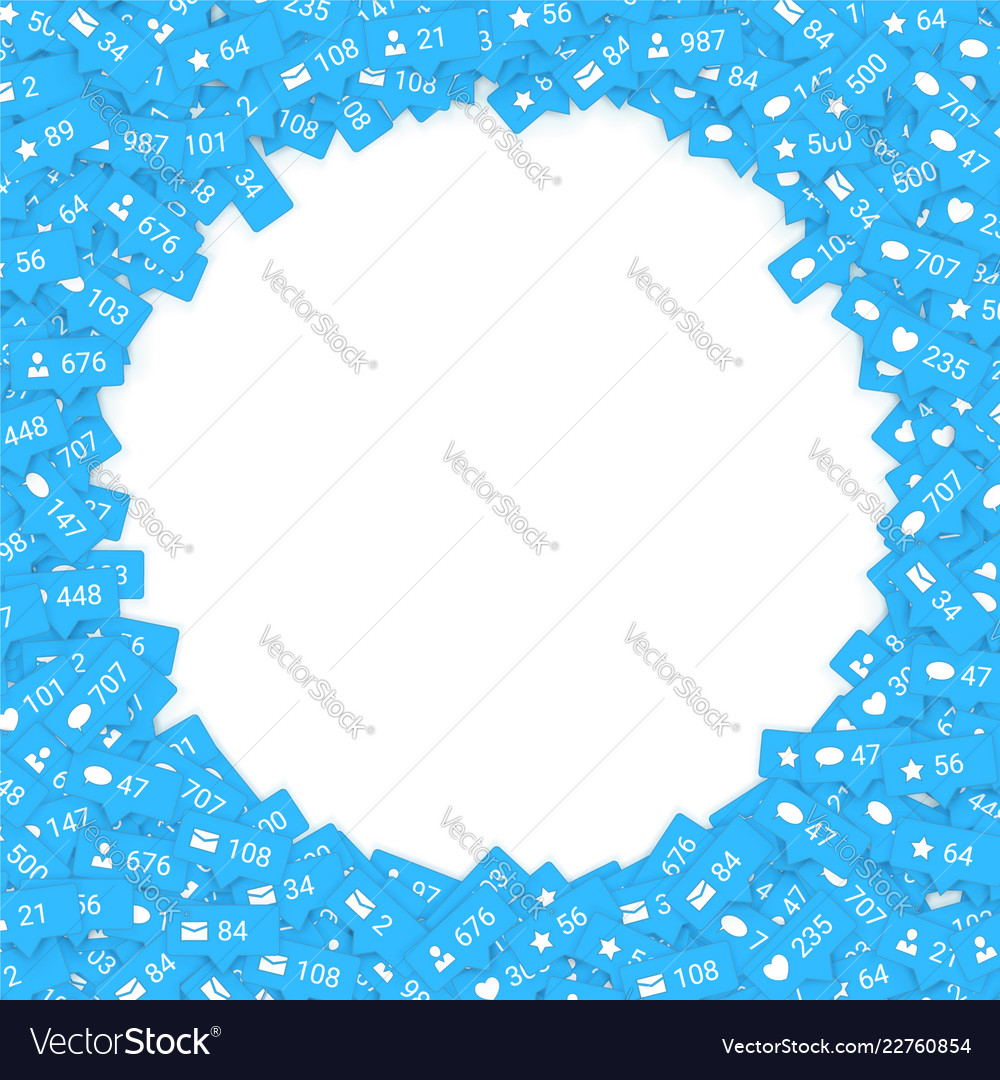 Blue icons of social media network activity
