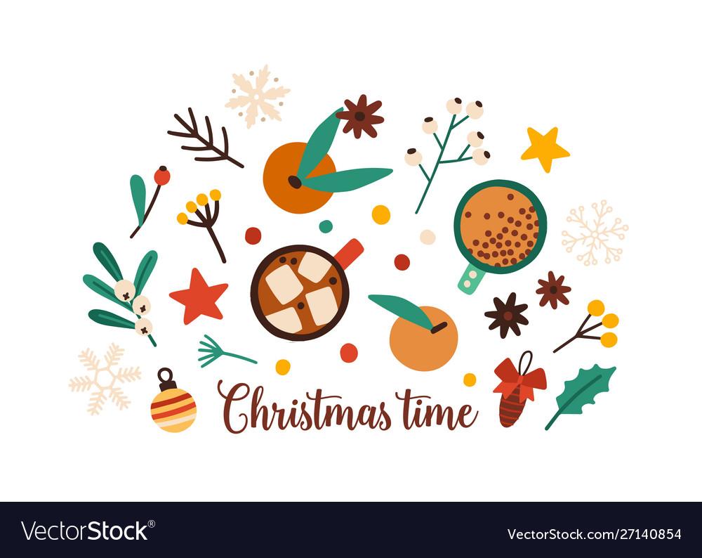 Christmas time festive decorations flat set