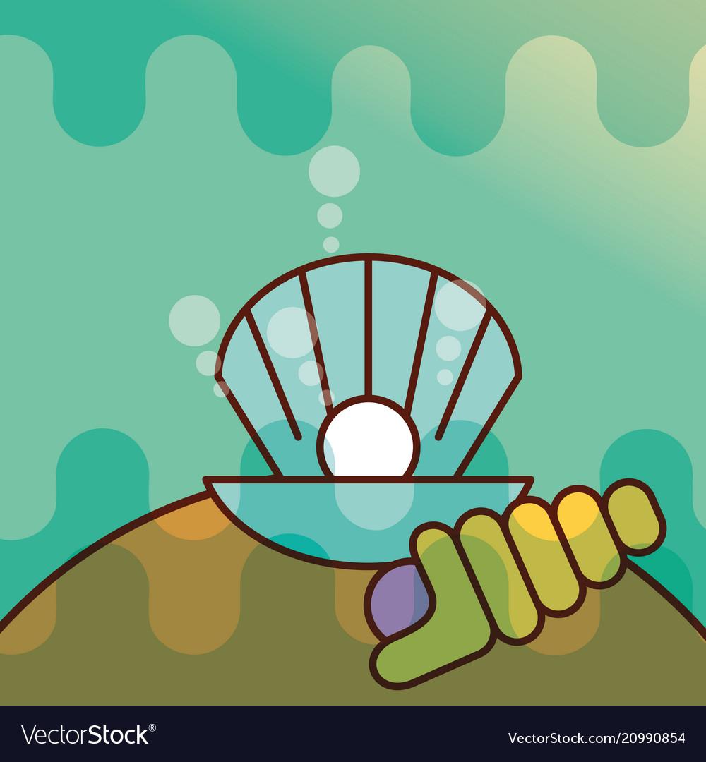 Clam shell sea life cartoon