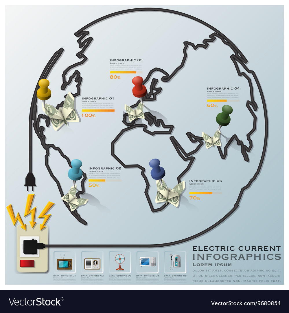 Electric Current And Equipment Earth Wire Line vector image on VectorStock