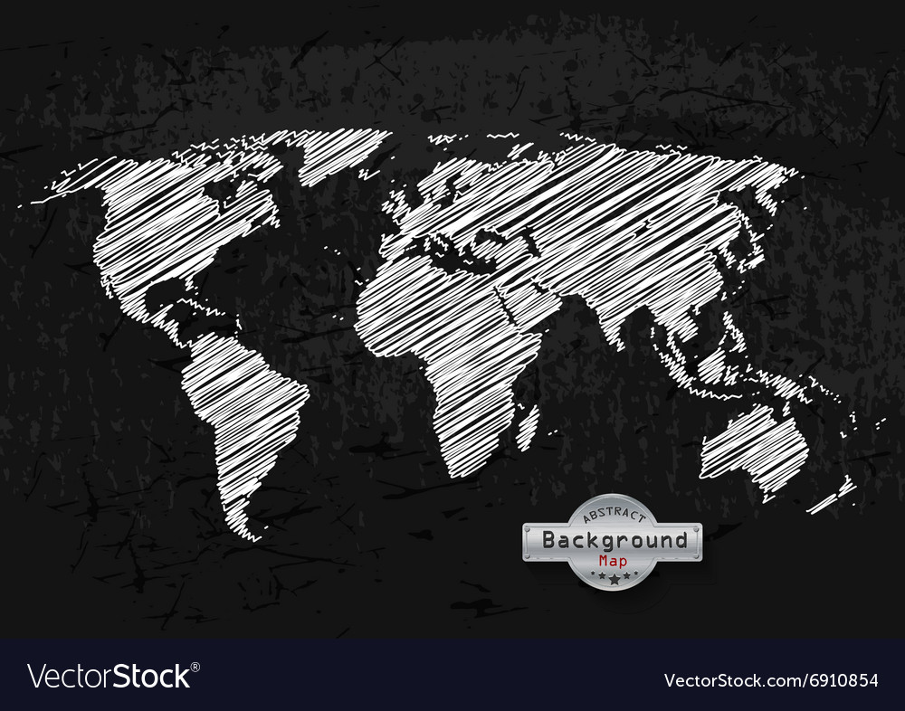 Hand drawn white world map on a grey background vector image gumiabroncs Image collections