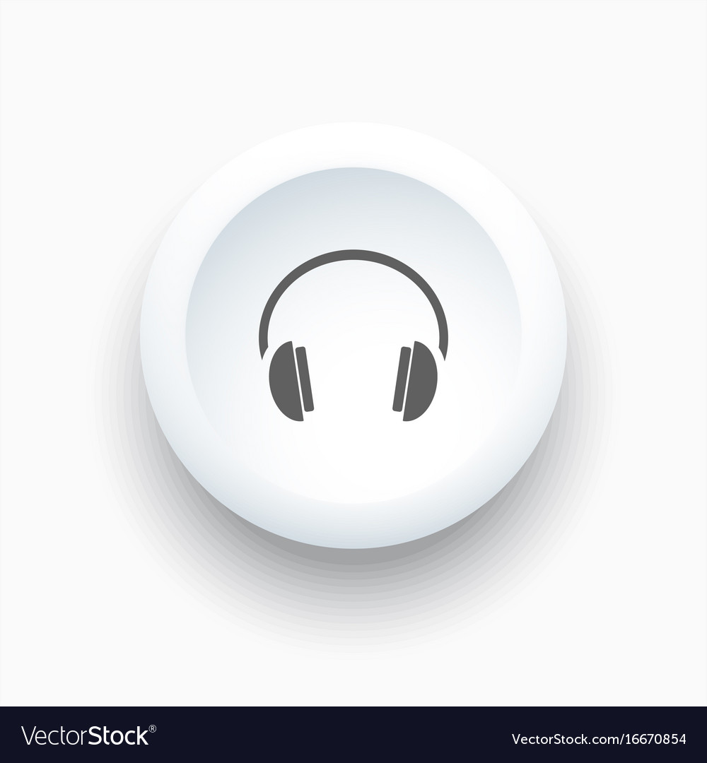 Headphones icon on a white button and white