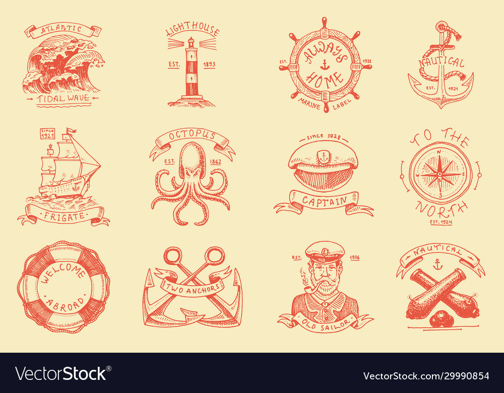 Marine and nautical emblems set engraved