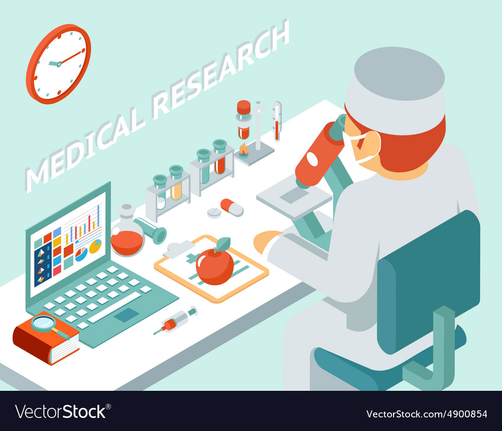 medical research 3d isometric concept royalty free vector rh vectorstock com Medical Vector Graphics Medical Vector Graphics