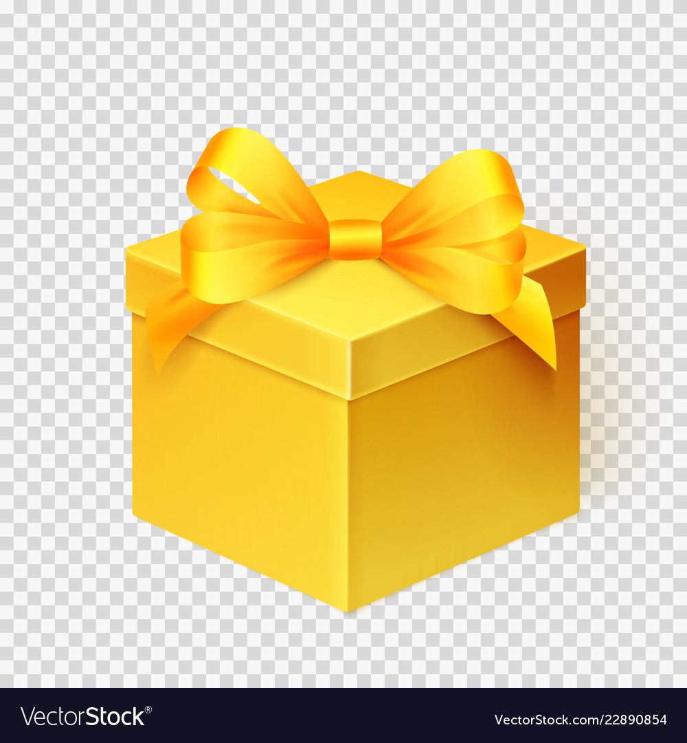 Realistic yellow gift box with ribbon design