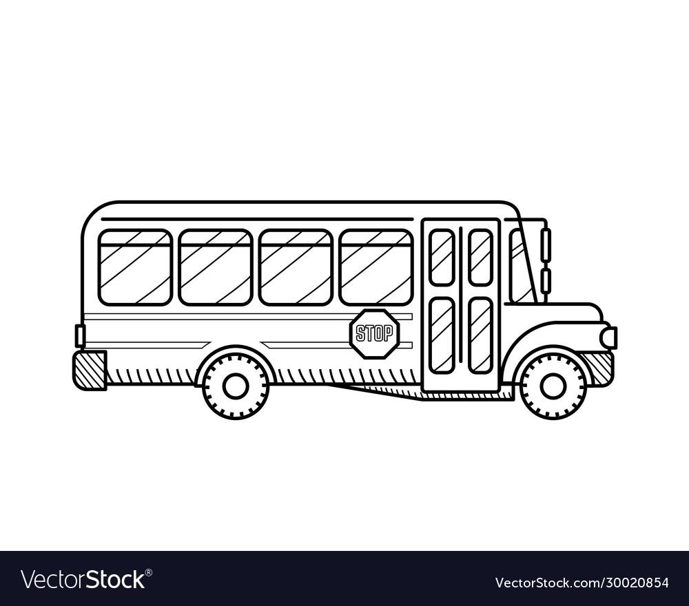 School bus public transport black and white