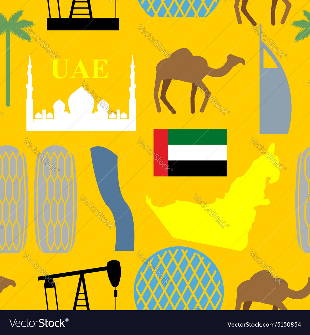Seamless pattern United Arab Emirates Desert and