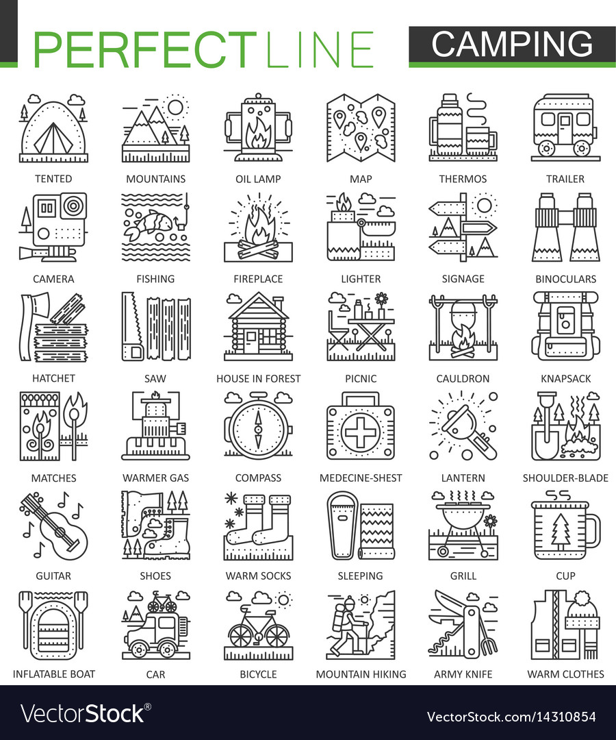 Summer outdoor camping concept symbols perfect