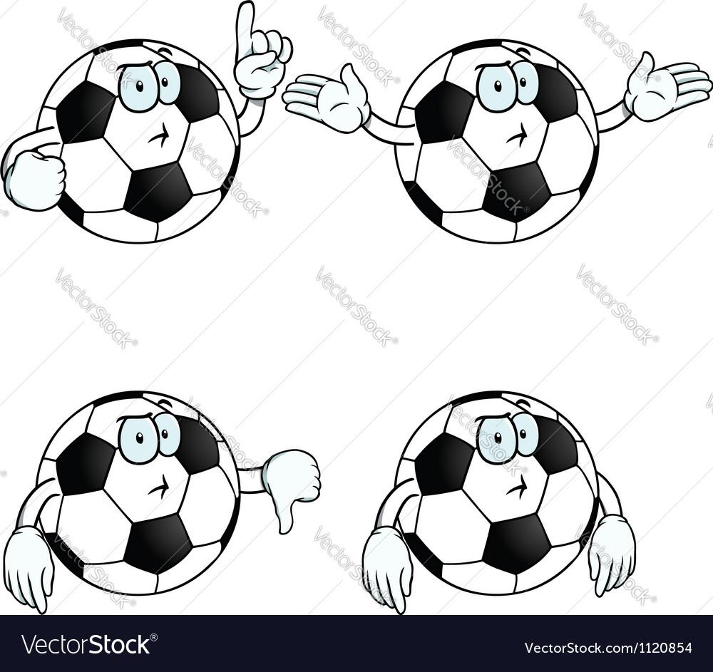 Thinking cartoon football set vector image