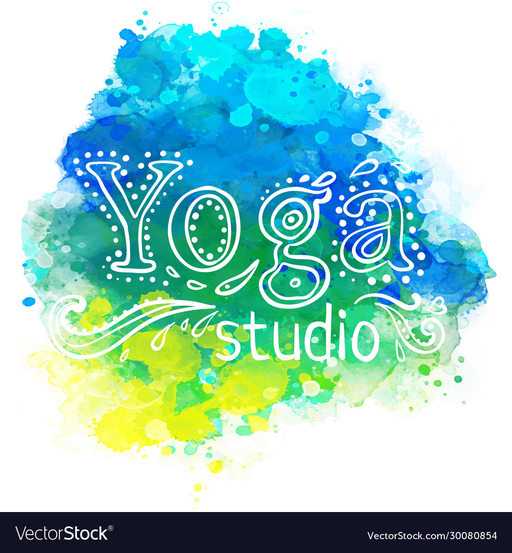 Yoga Studio Design Template Over Colorful Vector Image