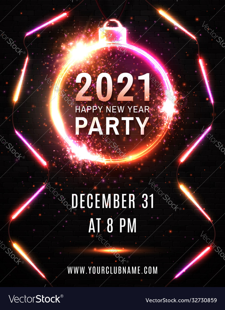 2021 Happy New Year Party Neon Poster On Black Vector Image