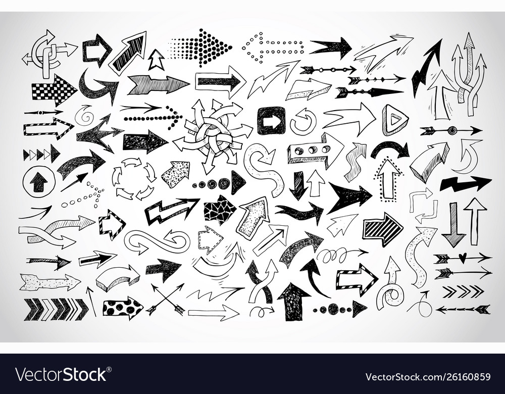Big collection doodle sketch arrows on white