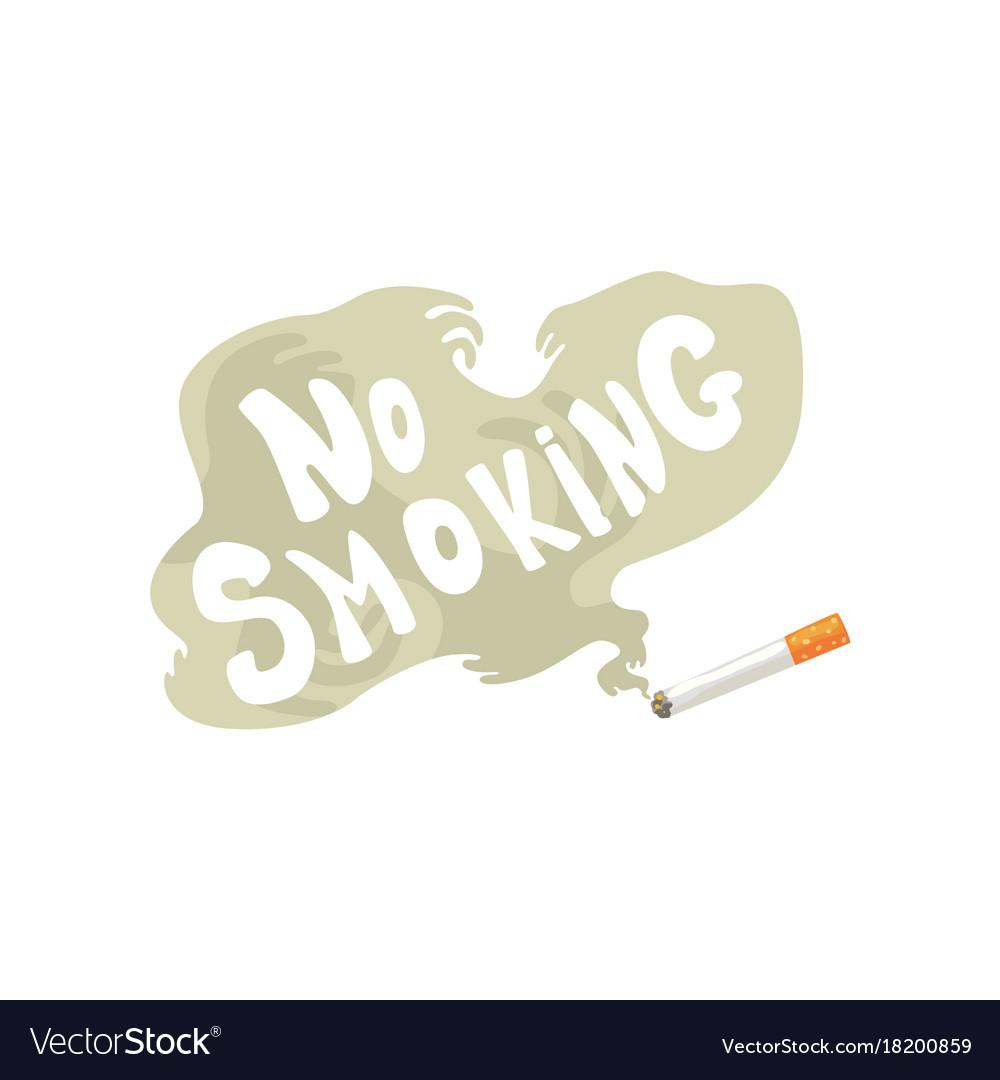 Burning cigarette with smoke and no smoking