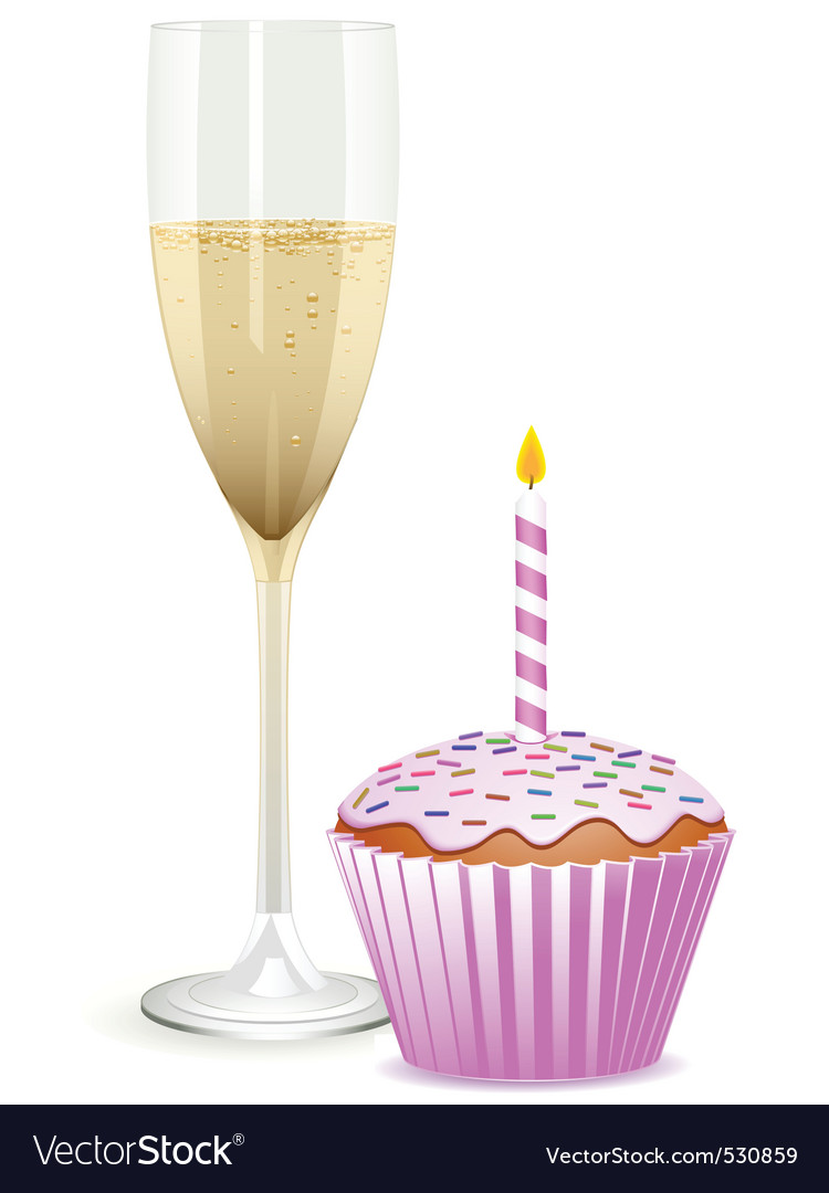 Champagne filled flute and a pink birthday cupcake vector image