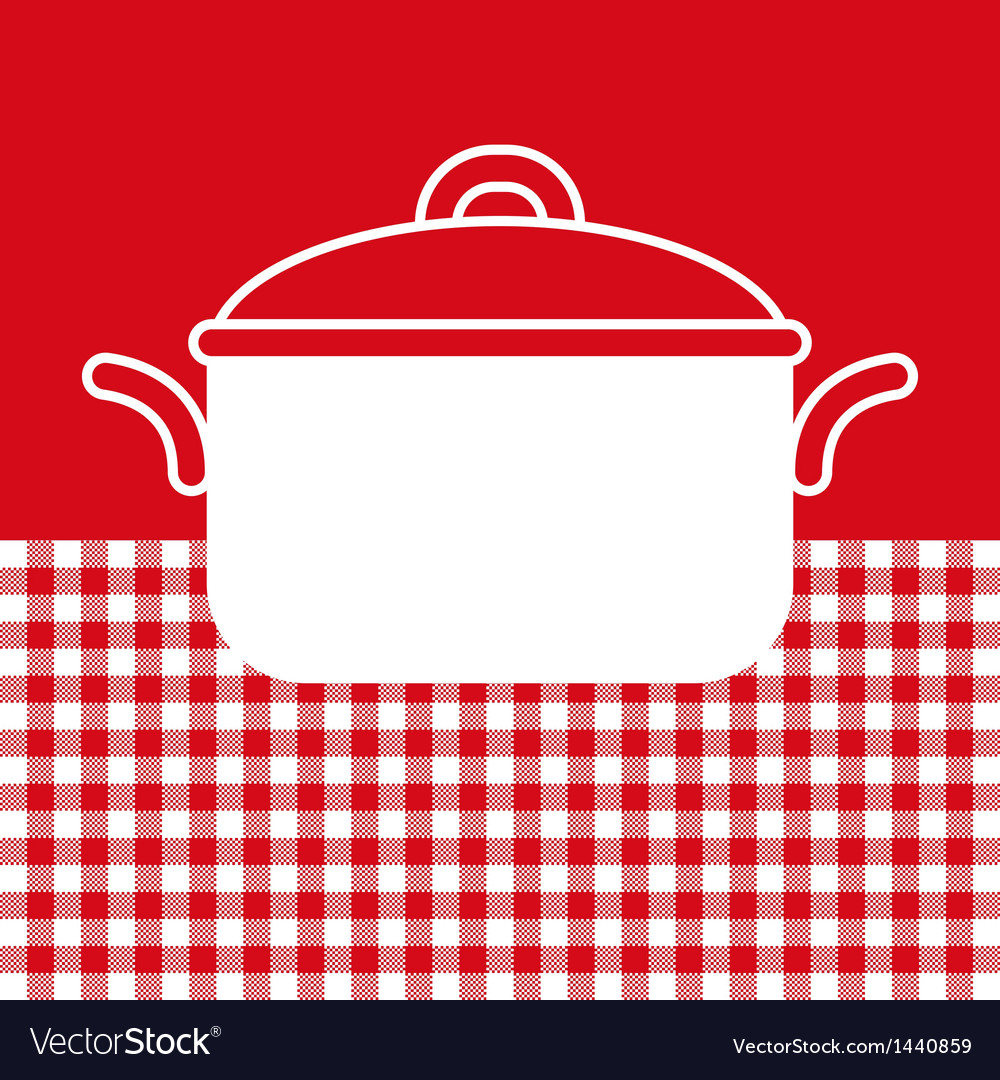 Cooking Pot On Red And White Tablecloth Background