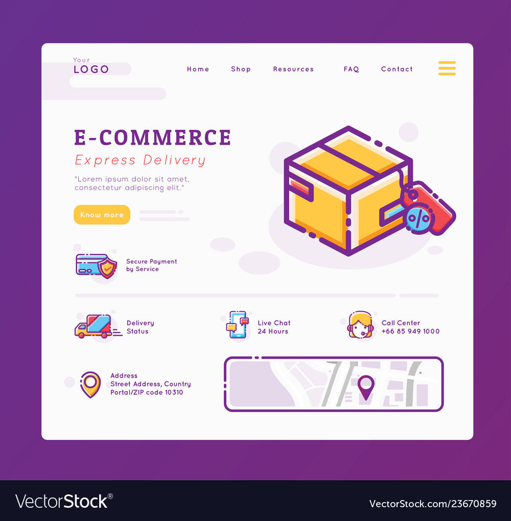 E-commerce and delivery service landing page