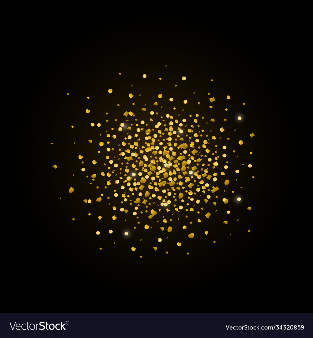 Gold glitter texture isolated on black background