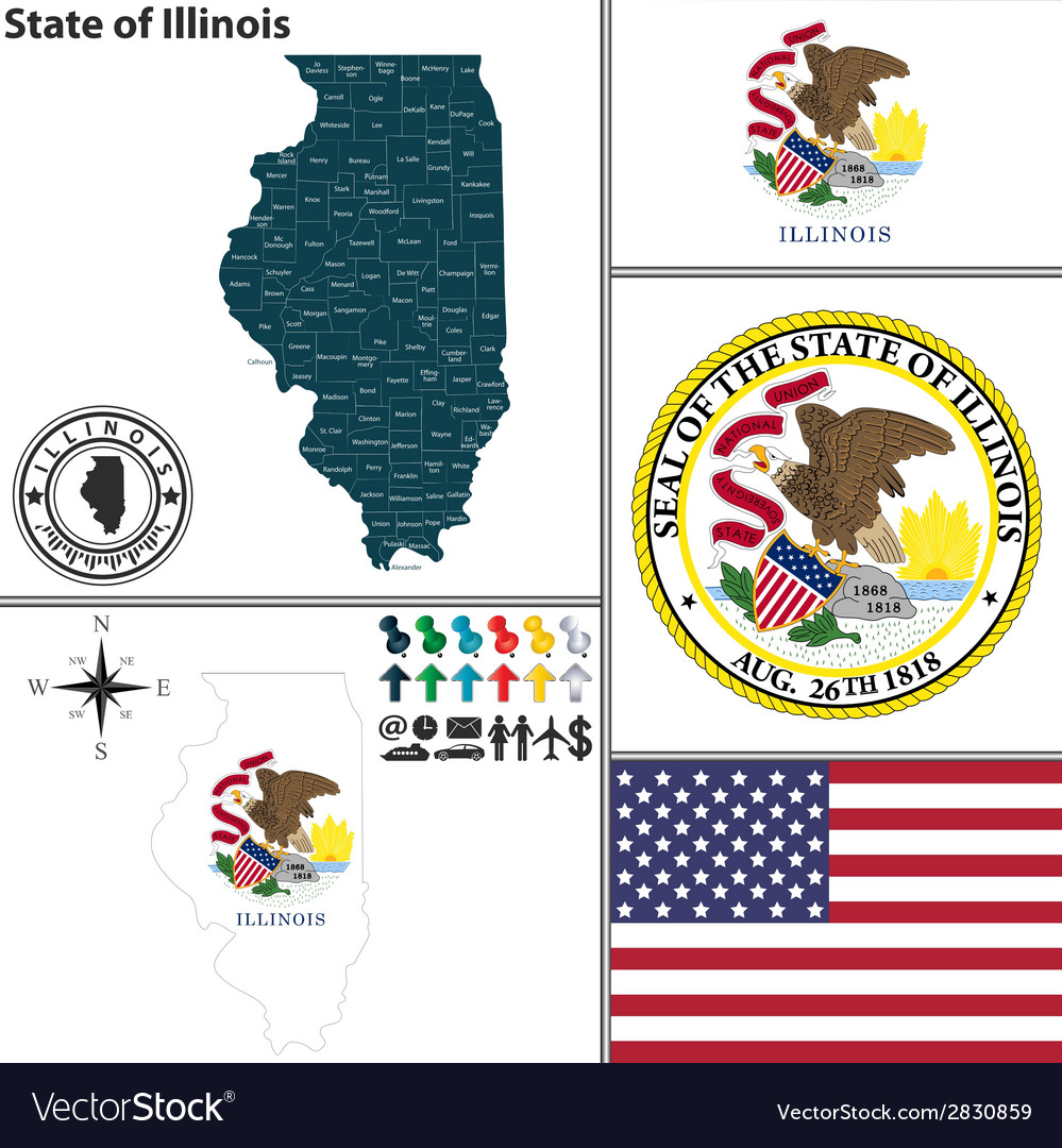 Map of Illinois with seal