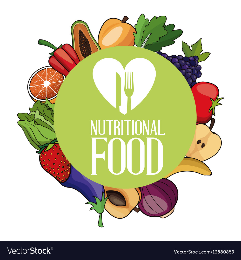 Nutritional food ingredients organic poster vector image