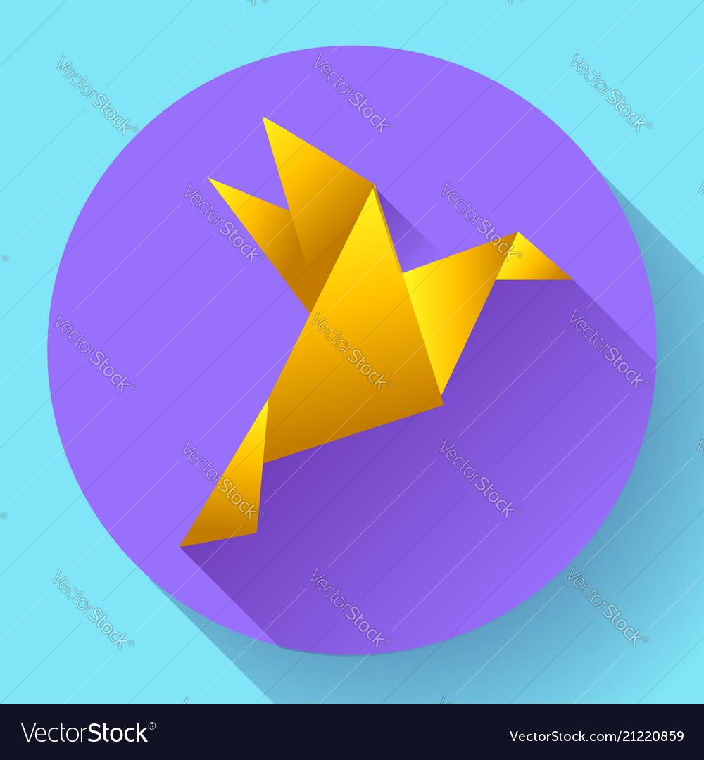 Orange origami bird art icon