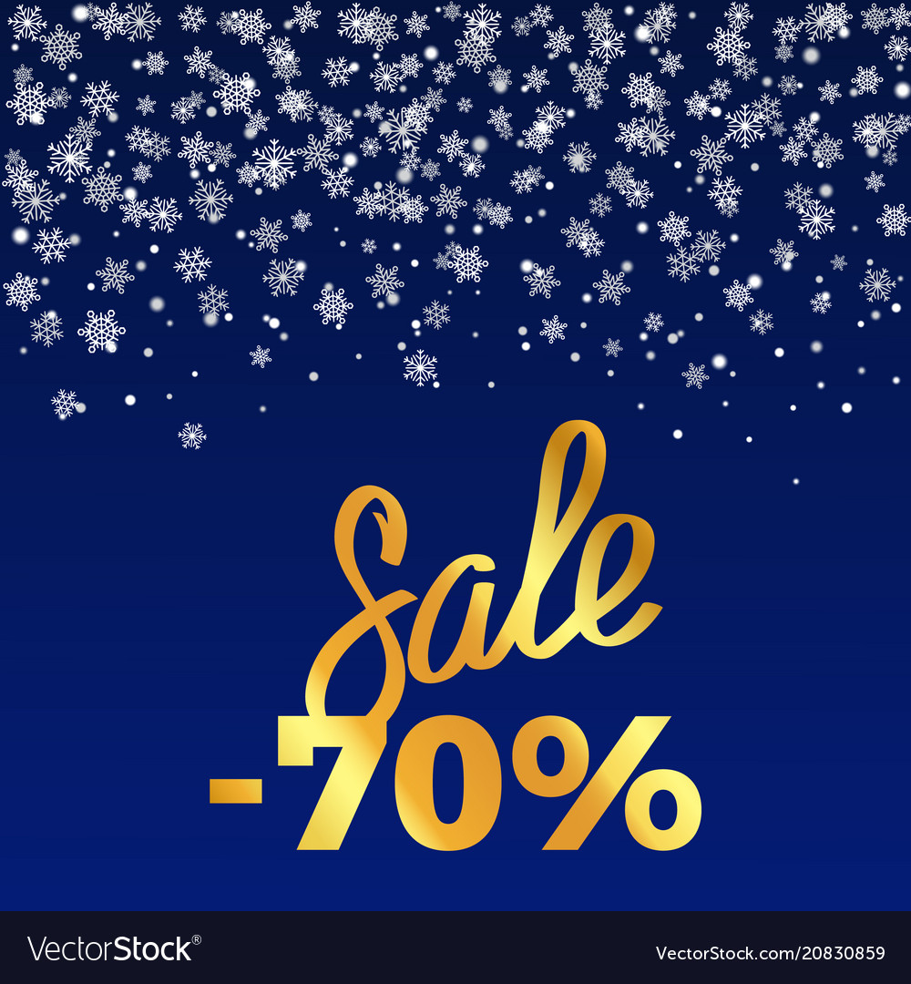 Sale -70 poster depicting discount with snowflakes