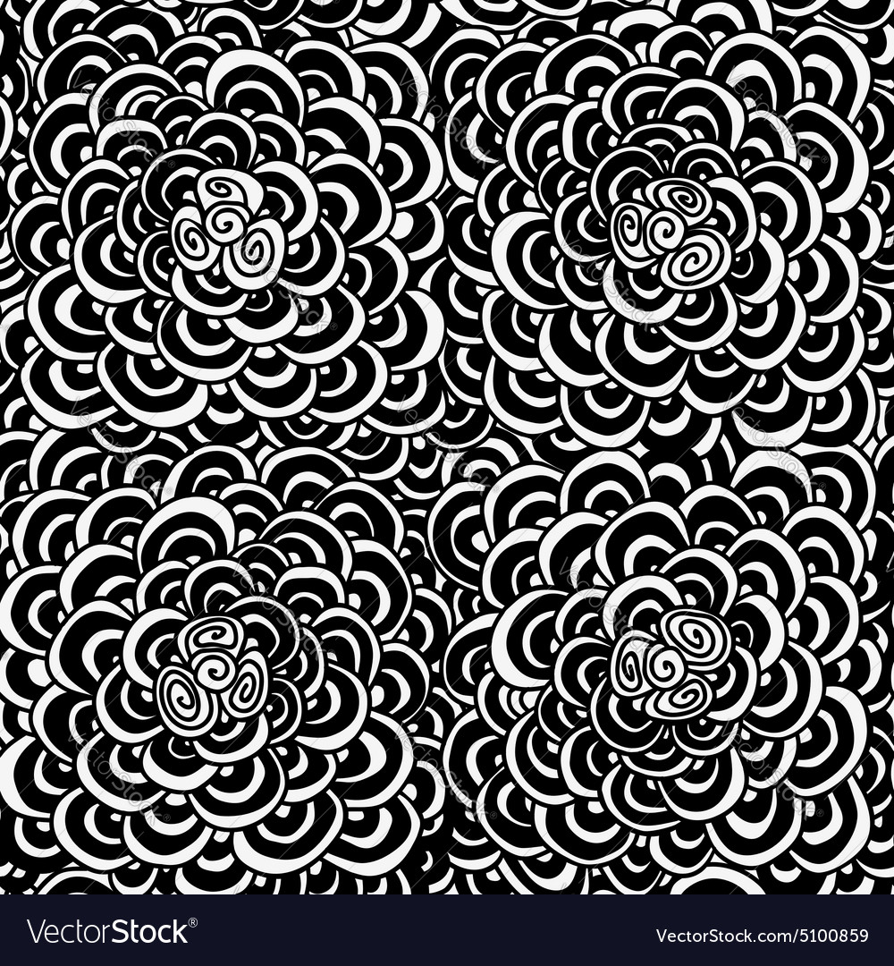 Seamless doodle monochrome pattern vector image