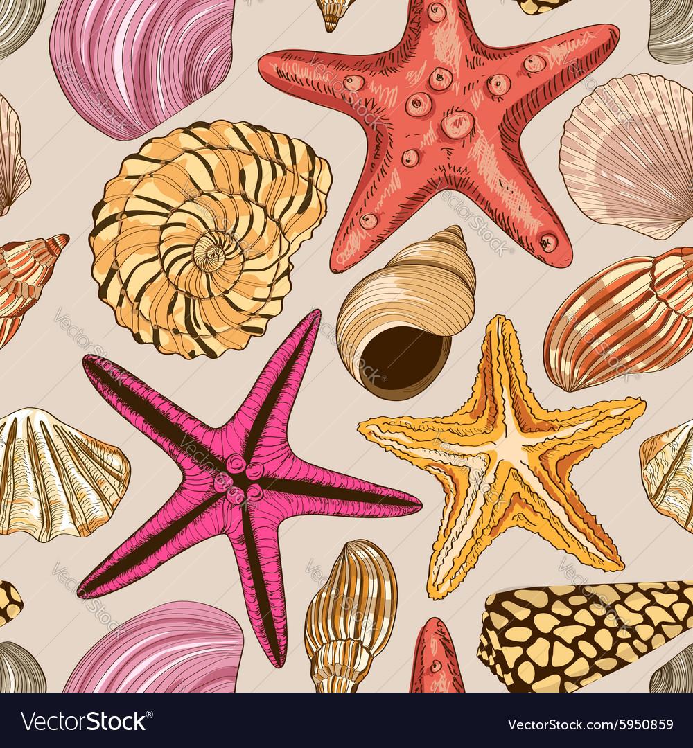 Seamless pattern of seashells and starfish