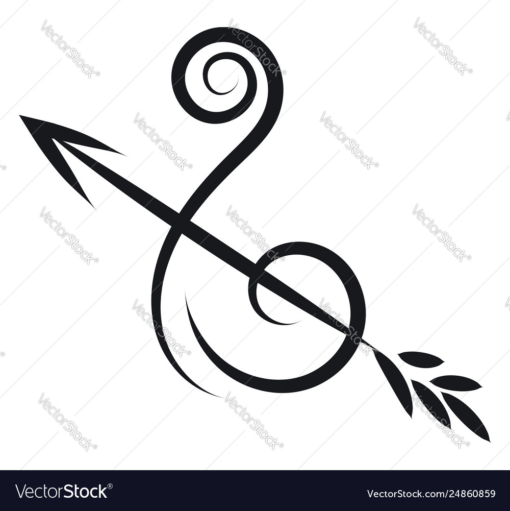 Simple black and white sketch horoscope sign