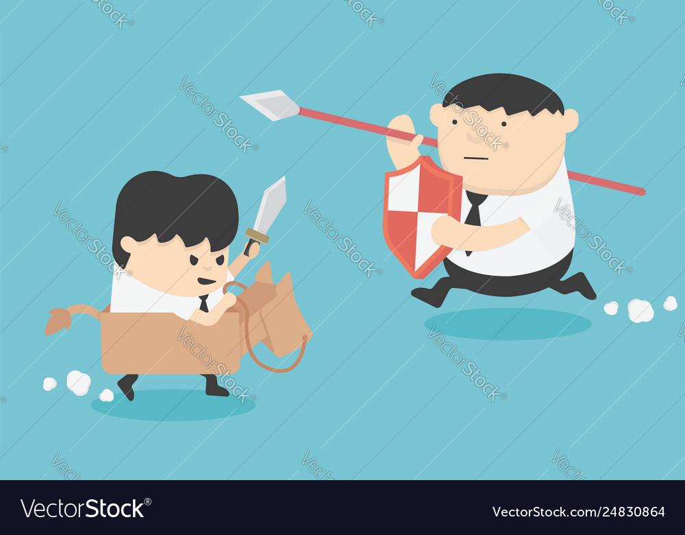 Cartoon concept businessman war
