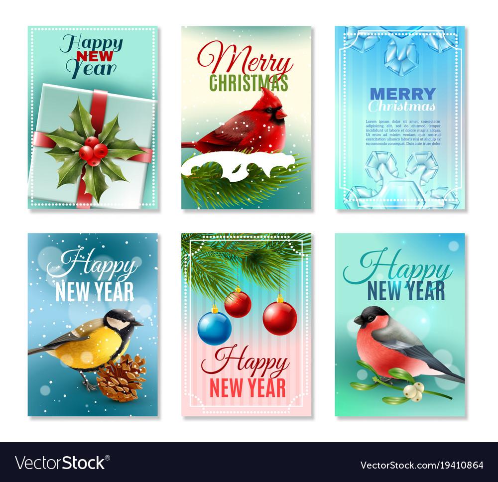 Christmas winter cards set