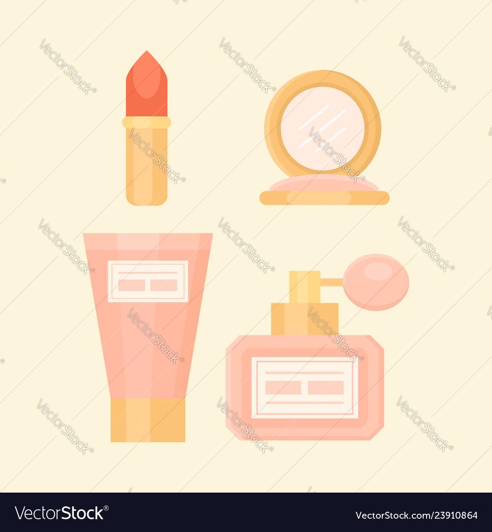Flat makeup set with perfume lipstick cream