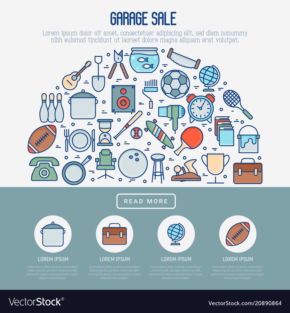 garage sale or flea market concept in half circle vector image