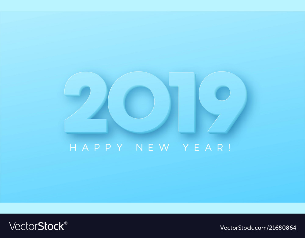 Happy new year 2019 on blue background