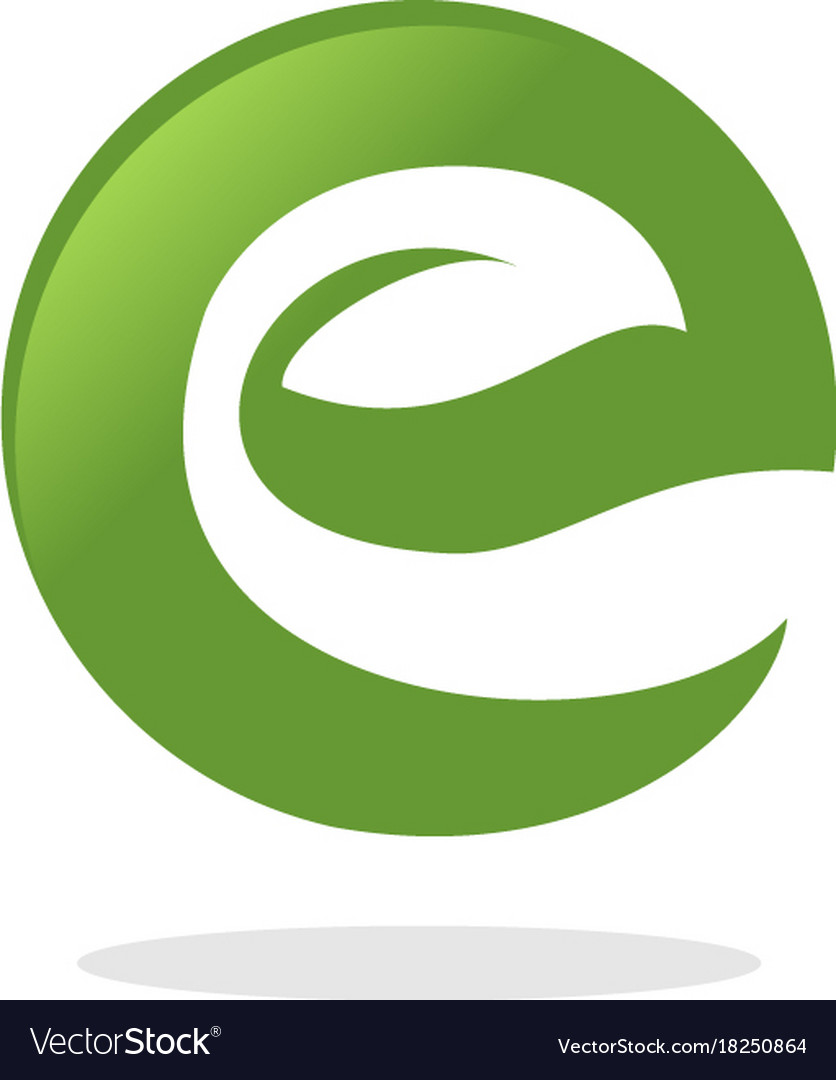Letter e leaf logo