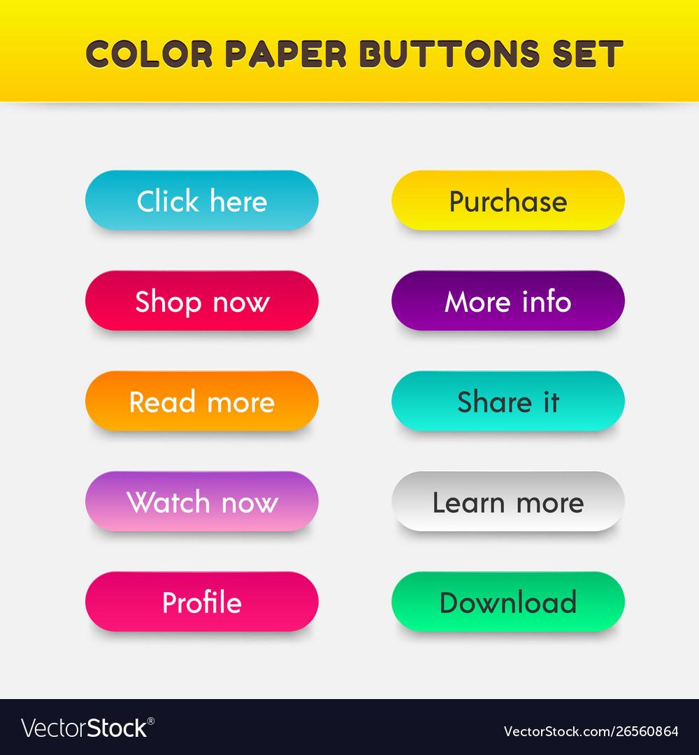 Set color button paper cut style