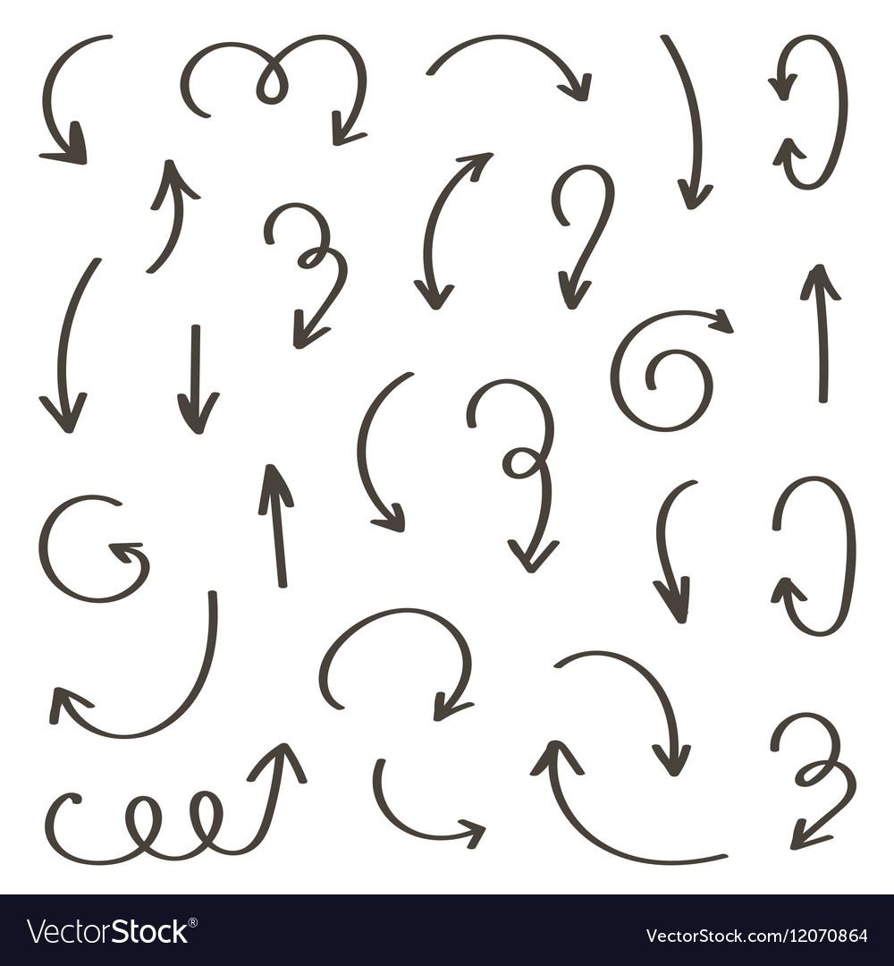 Set of monochrome hand-drawn arrows