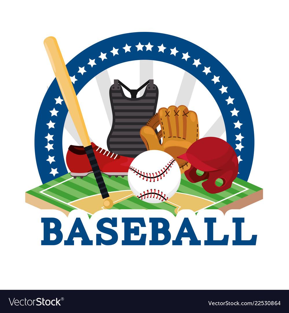 Sticker baseball sport game with equipment